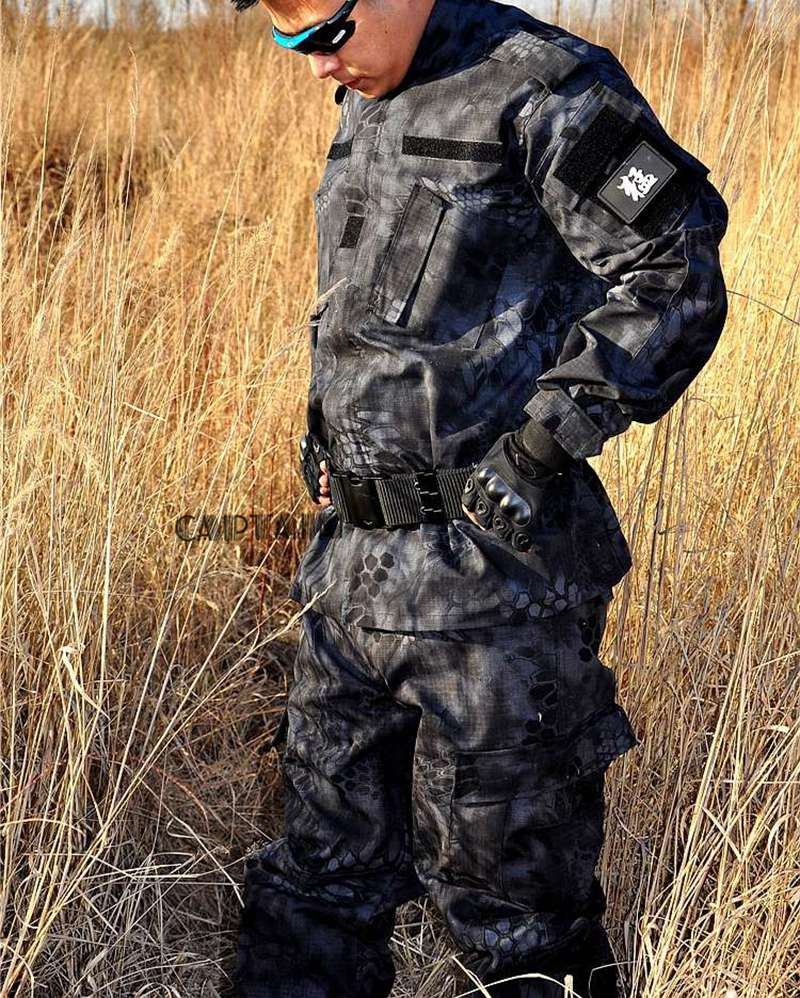 Military Tactical BDU Field Uniform Camouflage Set Shirt Pants Men's Tactical Hunting Uniform black tactical bdu uniform field shirt and pants clothes for hunting and finshing men outdoor paintball military wargame suit
