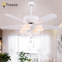 TRAZOS 52 inch crystal Modern LED Ceiling Fans With Lights wood blade Bedroom Ceiling Light Fan Lamp remote control 220 volt