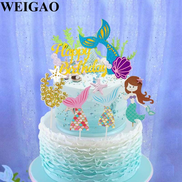 WEIGAO Birthday Mermaid Party Cake Toppers Cupcake Topper Mermaid Tail Sea Fish Cake Decorations Baby Shower Kids Party Favors