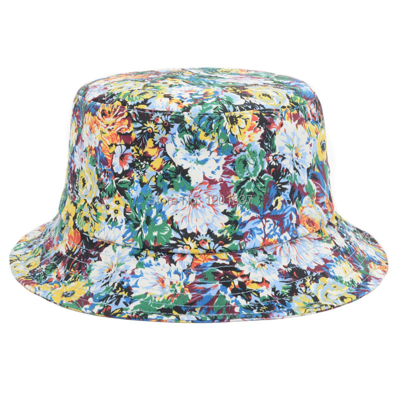 New Design Cotton Colorful Flowers Printed Bucket Hats Fishing Hats Sun  Protection For Women Goldtop 3e266b88812