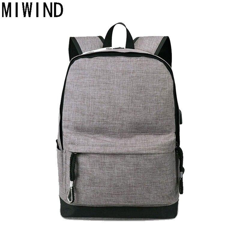 MIWIND toile hommes/femmes sac à dos étudiant sacs d'école pour adolescent filles garçon voyage sac à dos sac à dos cartable TMH1166