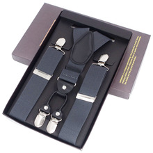 New Man Suspenders Braces Black Leather Adjustable belt Strap Trousers Suspensorio Father Gifts ligas 4 clips braces