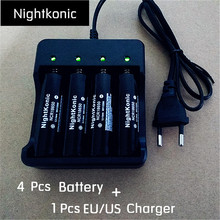 Nightkonic 4 PCS18650 battery + 1 PCS (EU/US)  4 slot Charger Original 3.7V  Li-ion Rechargeable Battery  Black