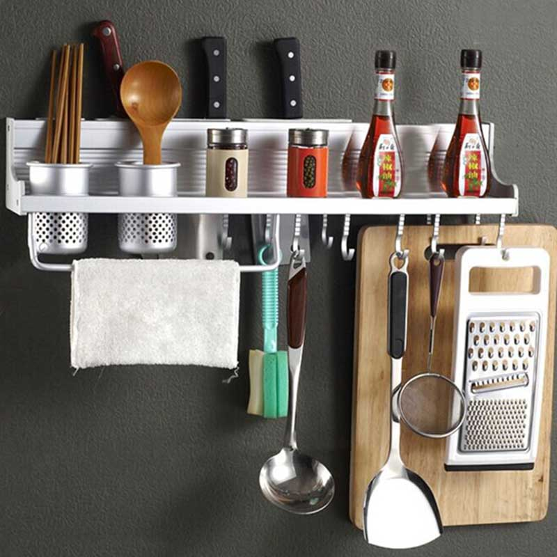 Superior Kitchen Hardware Accessories Multi-functional Storage Shelf Knife Holder Fork Seasoning Rack Wall Brackets AA multi function kitchen shelves space aluminum shelf storage organizer kitchen accessories kitchen knife holder
