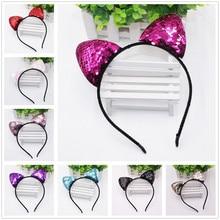 Glitter Can flip Sequins Cat Ear Girl Hairband Headband Hair Hoop for Girls Women Bands Halloween Headdress Gifts