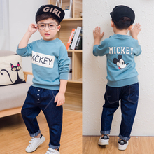 Boy's spring autumn Baby Sets cotton boy tracksuits Kids sport suits cartoon coats/sweatshirts+jeans pants