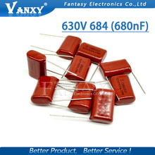 10PCS 630V684J 0.68UF Pitch 20MM 684 630V 680nf CBB Polypropylene film capacitor