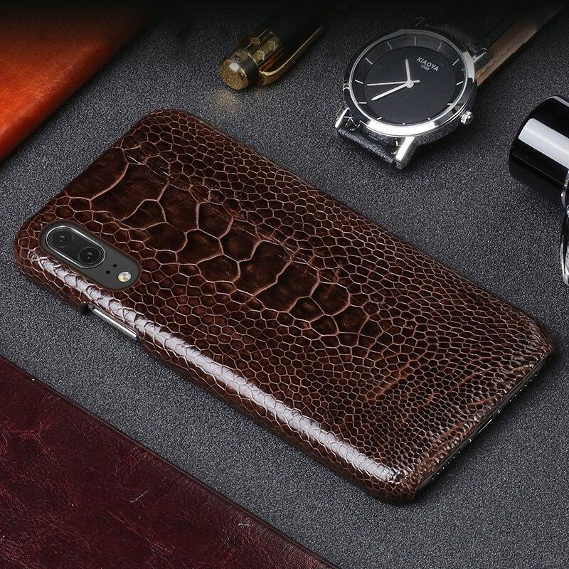 De luxe De Luxe en cuir téléphone étui pour huawei P20 d'autruche pied peau coque de téléphone de mode protection pour téléphone mobile retour shell