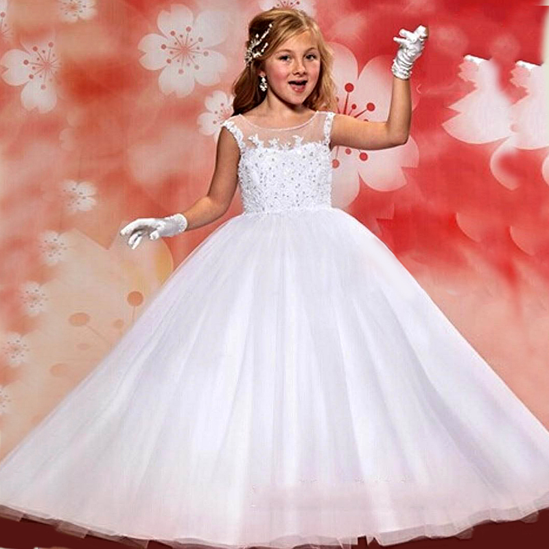 Baby Pageant Dress 2016 Free Shipping First Communion Dresses White Ball Gown Flower Girls Dresses for Weddings
