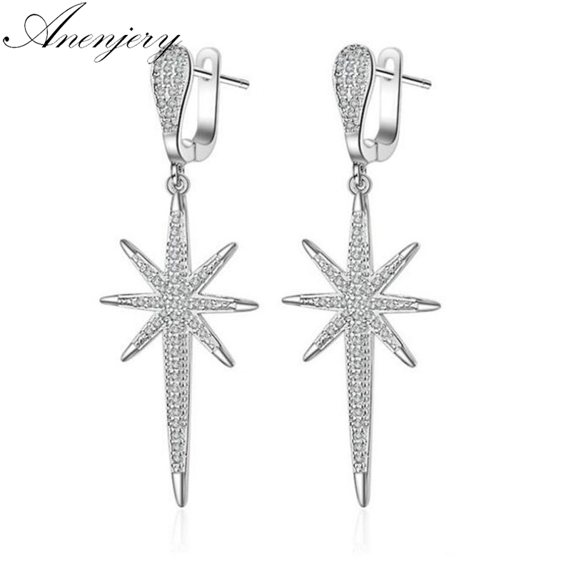 Anenjery Exaggerated 925 Sterling Silver Earrings For Women Dazzling Full CZ Crystal Hexagon Long Tassel Earrings S-E506 pair of dazzling crystal pendant alloy earrings for women