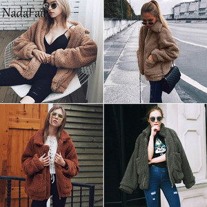 Image 5 - Nadafair Teddy Coat Women Fluffy Jacket Autumn Zipper Plush Thick Casual Plus Size Lamb Winter Faux Fur Coat Female Overcoat