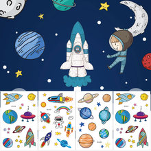 Cyuan Outer Space Party Tattoo Stickers Water Proof Temporary Tattoo Stickers for Boy Birthday Solar System/Rocket Ship Party(China)