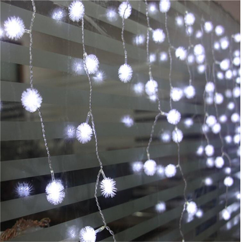 0.4-0.6 droop 4m led curtain furry ball icicle string light Christmas fairy lights led for Wedding/Party/curtain/home decoration