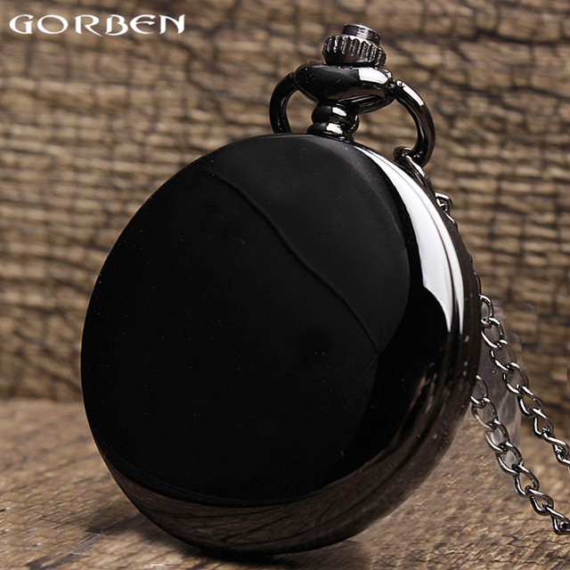 2017 New Fashion Smooth Black Case Design Pocket Watch Necklace Vintage Classic
