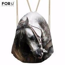 FORUDESIGNS Fashion Large Drawstring Bags for Boys Girls Cool 3D Animal Crazy Horse Printed Backpacks Softback Students Sack Bag