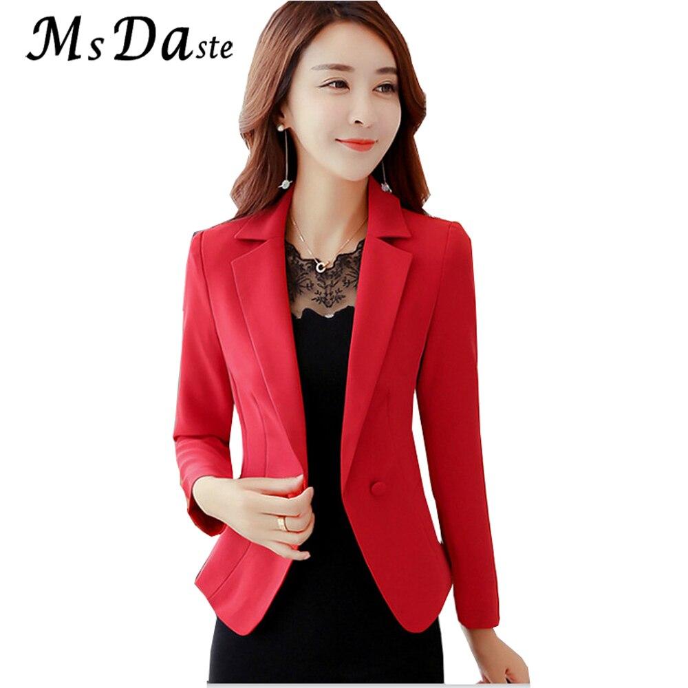 2017 New Fashion Womens Blazers Female Work Wear Office Lady Full Long Sleeve Bleiser femenino S M L XL XXL XXXL Red Black