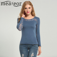Meaneor New Women Casual Long Sleeve O Neck Lace Patchwork Hollow Out Top T Shirt