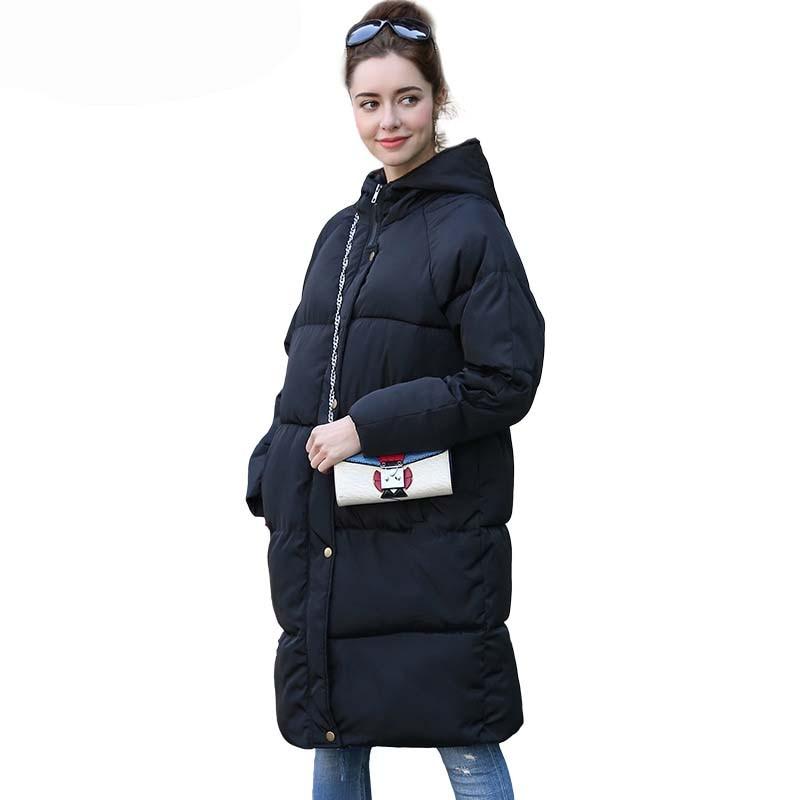 WHZHM Winter Thick Coat Hood   Parkas   Women Full Sleeve Jacket Female Loose Coat Warm Pockets Zipper Thick Black Coat Tops Women