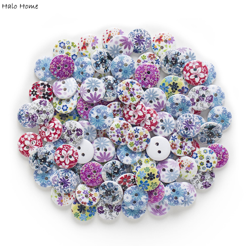 50pcs 2 Hole Flower Wood Buttons Home Sewing Scrapbooking Clothing Decor 17mm