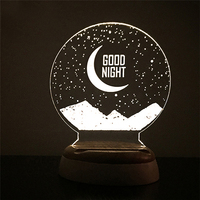 Carving 3D LED Moon Lamp Night Lights USB Christmas Lights Atmosphere Desk Lamps Earth Astronaut Moonlight