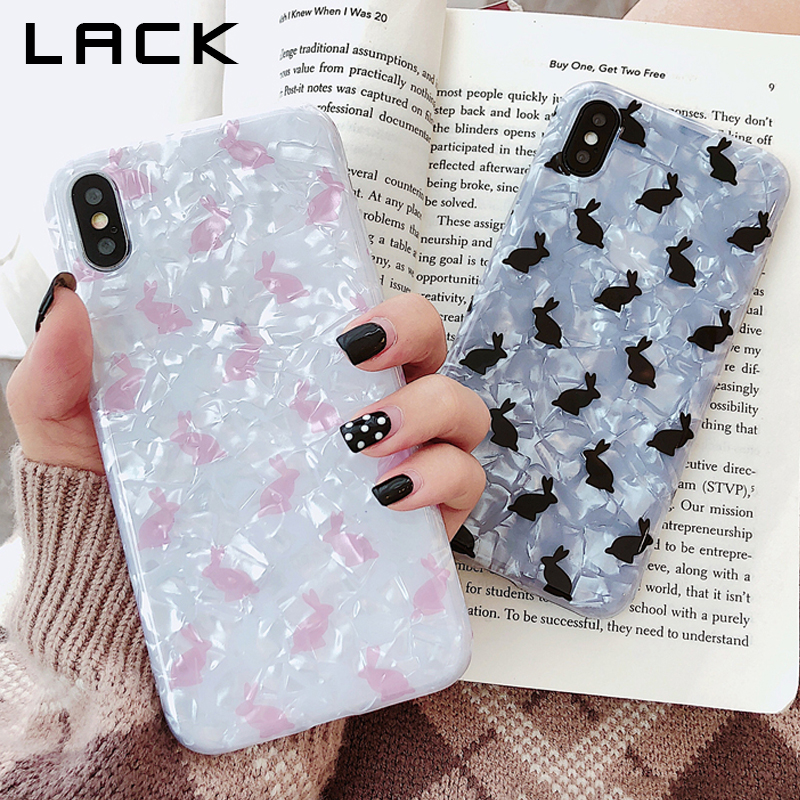 LACK Cute Cartoon Rabbit Phone Case For iphone XS Max XR 8 7 6S 6 Plus Back Cover Fashion Conch Shell Cases Candy Color Capa