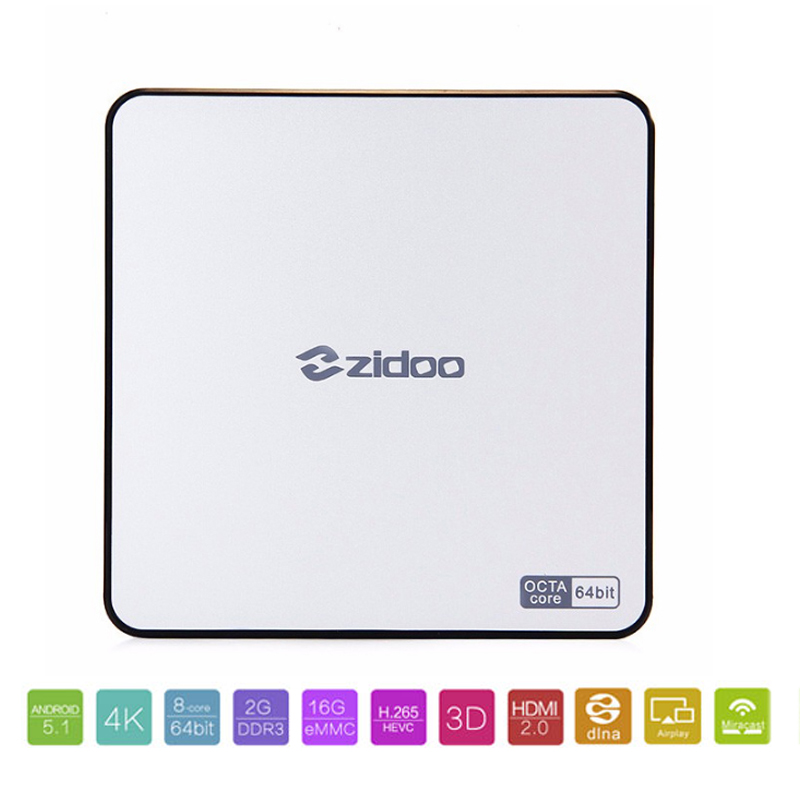 Zidoo X6 Pro Android 5.1 Lollipop TV Box RK3368 Octa Core 2G/16G Gigabit LAN Dual Wifi BT4.0 HDMI 2.0 4K*2K H.265 Set Top box смарт тв приставка zidoo x6 pro 2 16 гб с android 5 1 и wi fi