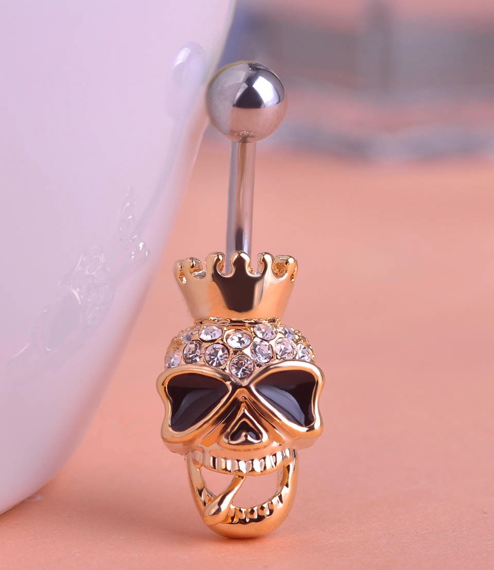 HTB1upE8FFXXXXcaXFXXq6xXFXXX0 Black Enamel Crowned Skull Body Jewelry Piercing Navel Ring