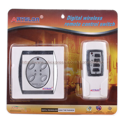 Wholesale 4 Channel Digital Wireless Remote Control Switch Light Remote Switch with Battery & DHL/UPS/FEDEX/EMS Free Shipping