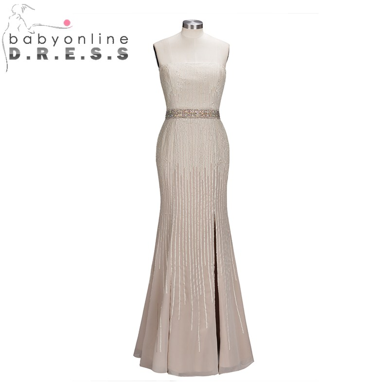 Charming Strapless Beading Crystal   Prom     Dresses   Elegant Backless Sequined Evening   Dress   with High Slit Long Sleeveless Gown