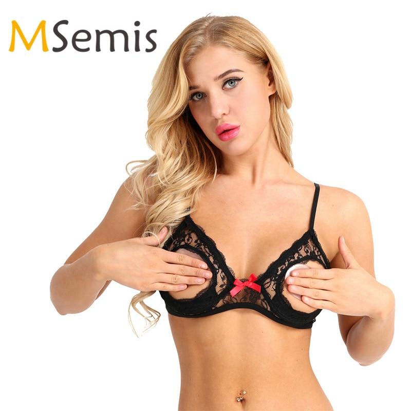 MSemis שחור נשים סקסי הלבשה תחתונה תחרה פרחוני לראות דרך להרחיב כוס לצלול V-מחשוף משולש Bralette חוט- משלוח קמטים חזייה למעלה