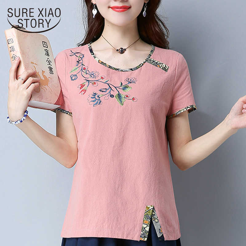 8607777941f new 2018 summer short sleeve Cotton women blouse shirt fashion plus size  women tops folk-