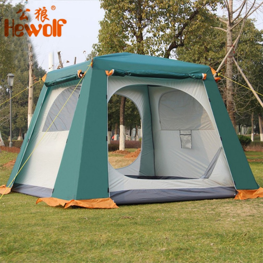 Hewolf New 3-6 Persons Outdoor Fully Automatic Rainproof Tent Double Layer Camping Hiking Fishing Backpacking Tent Drop Shipping hewolf 2persons 4seasons double layer anti big rain wind outdoor mountains camping tent couple hiking tent in good quality
