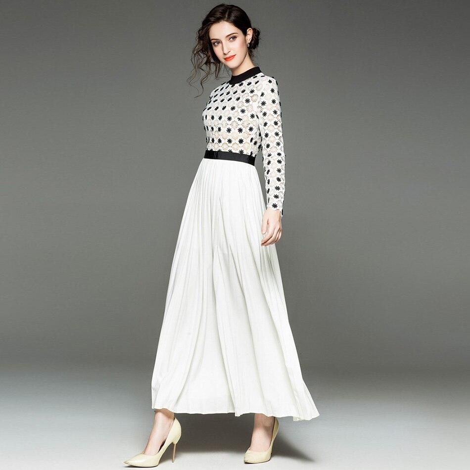 Élégant Col Rond Plissé Couture Crochet Fleur De Nouveau Dentelle Perspective Robe 2018 Blanc Manches Automne À Ajouré Longues Femmes wZqaxX6