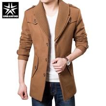 Urbanfind мужчины зимняя шерсть куртка пальто большой размер m-3xl хорошее качество однобортный дизайн сгущает человек модного бренда верхней одежды