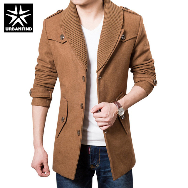 URBANFIND Men Winter Wool Jacket Coats Big Size M-3XL Good Quality Single Breasted Design Thicken Man Brand Fashion Outerwear