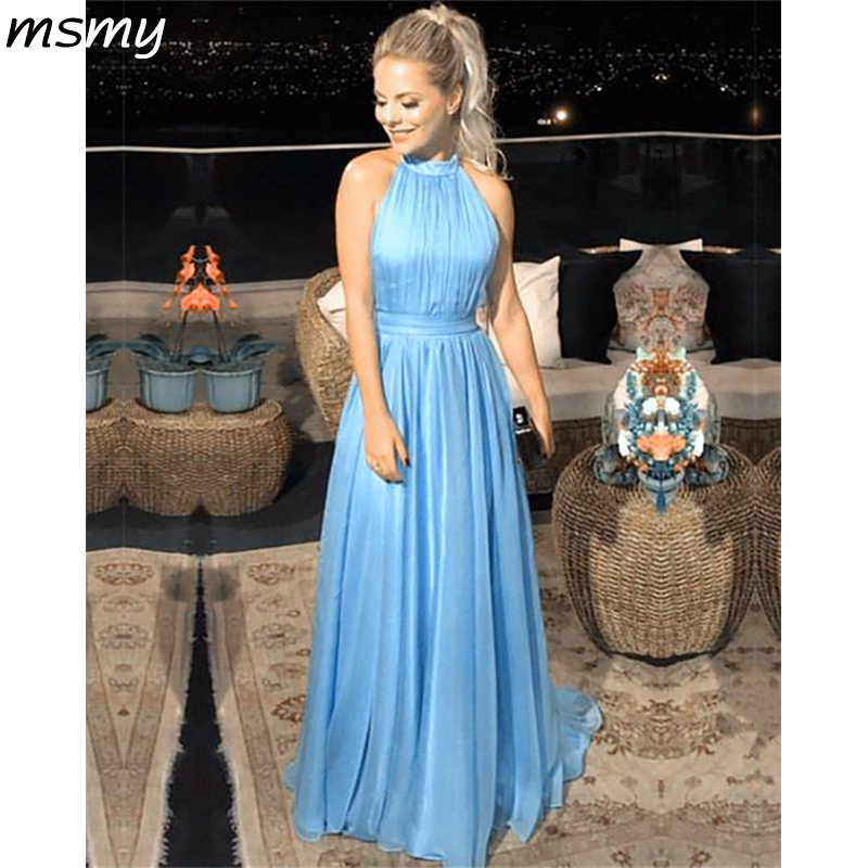 2019 Simple Country   Bridesmaid     Dresses   Sleeveless High Neck Pleat Long   Bridesmaid   Party Prom   Dress   Gown Custom Made