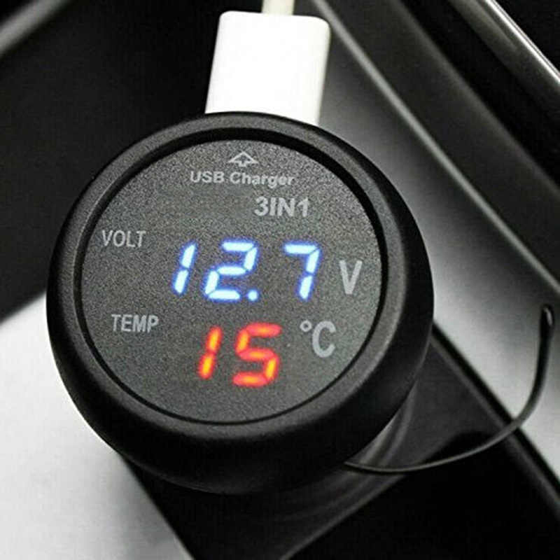 Mobil Auto Monitor Display Pengisian USB Charger untuk Ponsel GPS LED Digital Voltmeter Gauge Thermometer Aksesoris Mobil Auto Parts