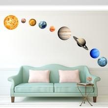 Sun Jupiter Saturn Neptune Uranus Earth Venus Mars Mercury Glowing Planets Wall Stickers Solar System Decals For Kids Room