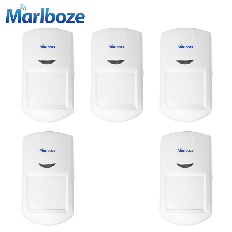Marlboze 5pcs Wireless Passive PIR Motion Sensor Infrared detector for G11 PG500 Home Security GSM Alarm Host System 433MHz wireless vibration break breakage glass sensor detector 433mhz for alarm system