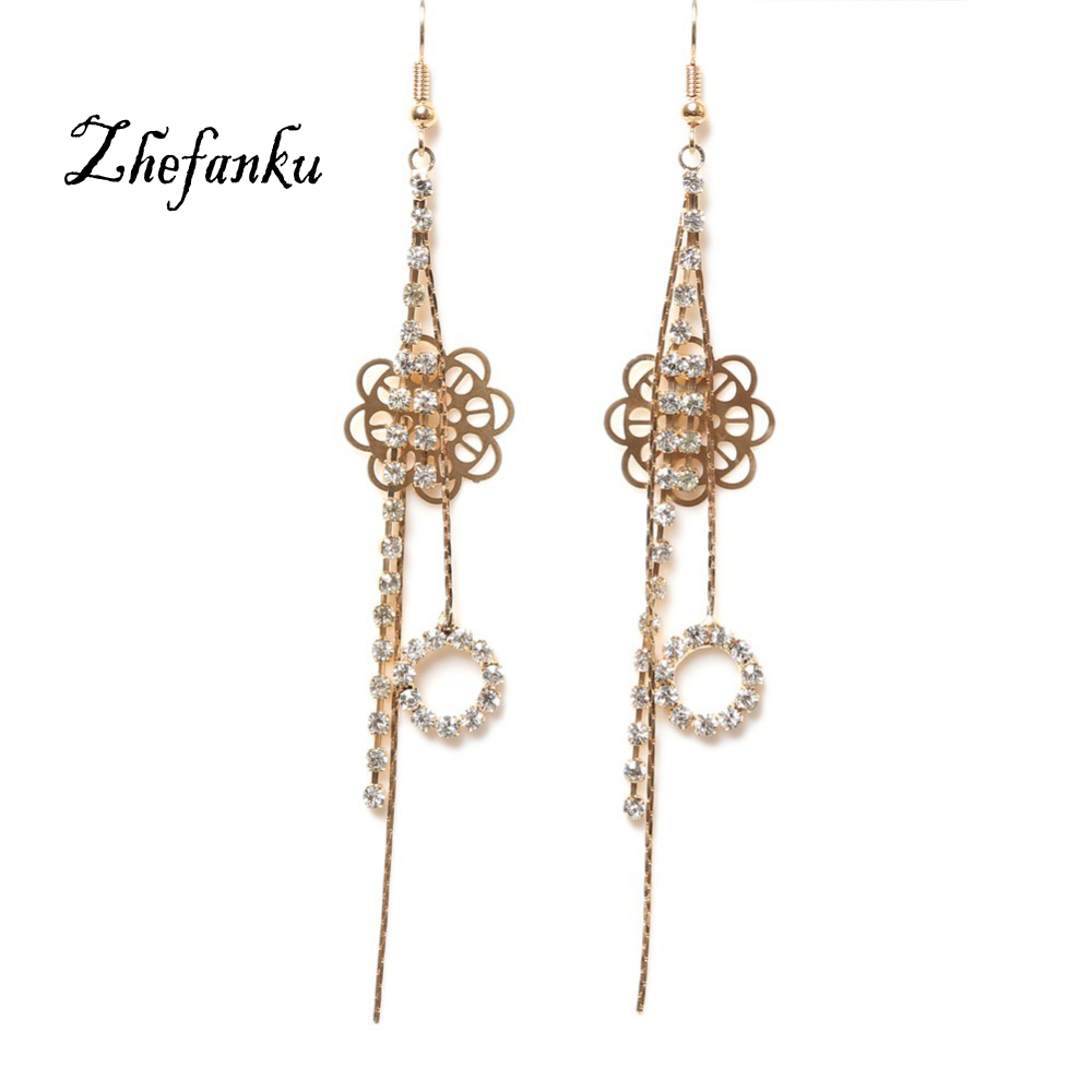 Fashion Jewelery Flower Shaped Hollow Circle Tassel Long Type Woman Earrings Color Dangle Earring