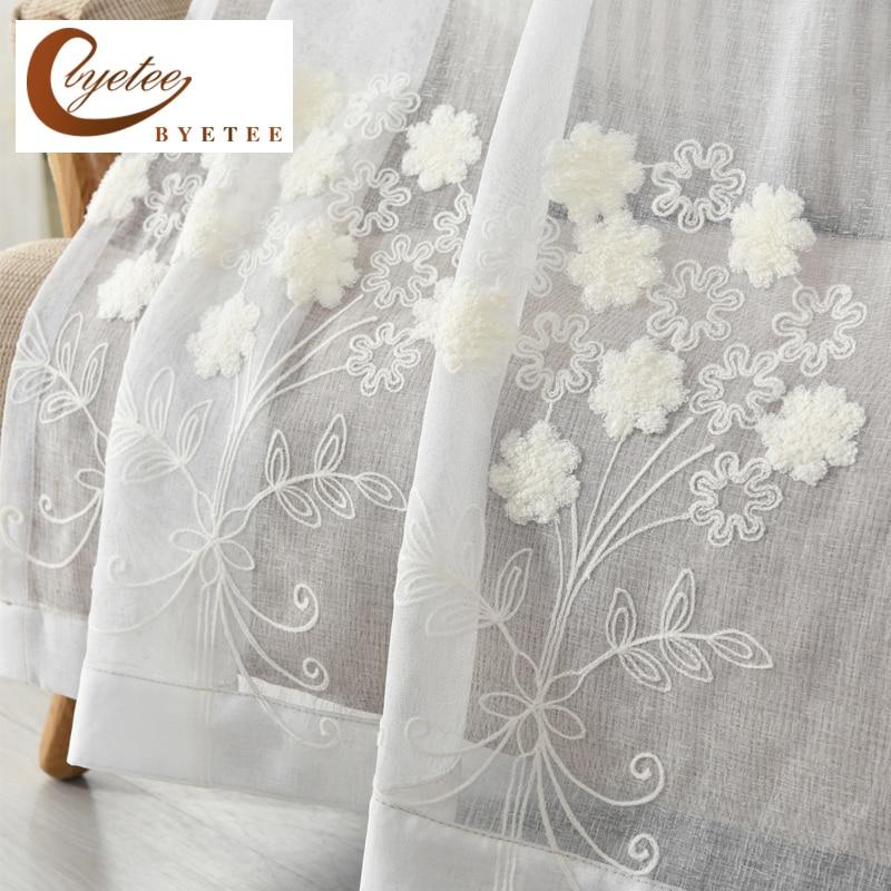 [byetee] Algodón Lino Blanco Bordado Voile Pastoral LivingRoom - Textiles para el hogar