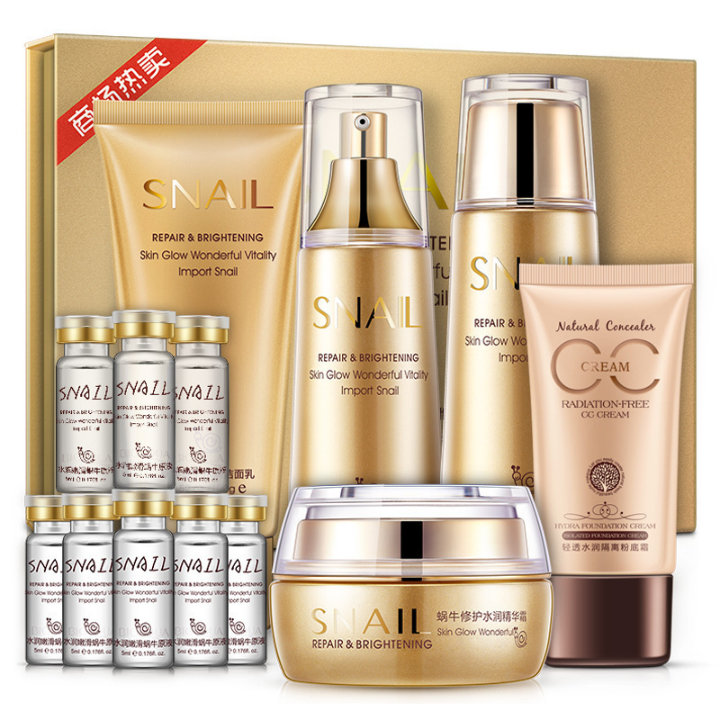 Snail Repairing & Moisturizing Gift Set Skin Care Nourishing Cleanser, Toner, Lotion, Essence, Cream, CC Cream olive honey bomb essence skin care set moisturizing whitening facial cream eye cream cleanser essence milk essence lotion
