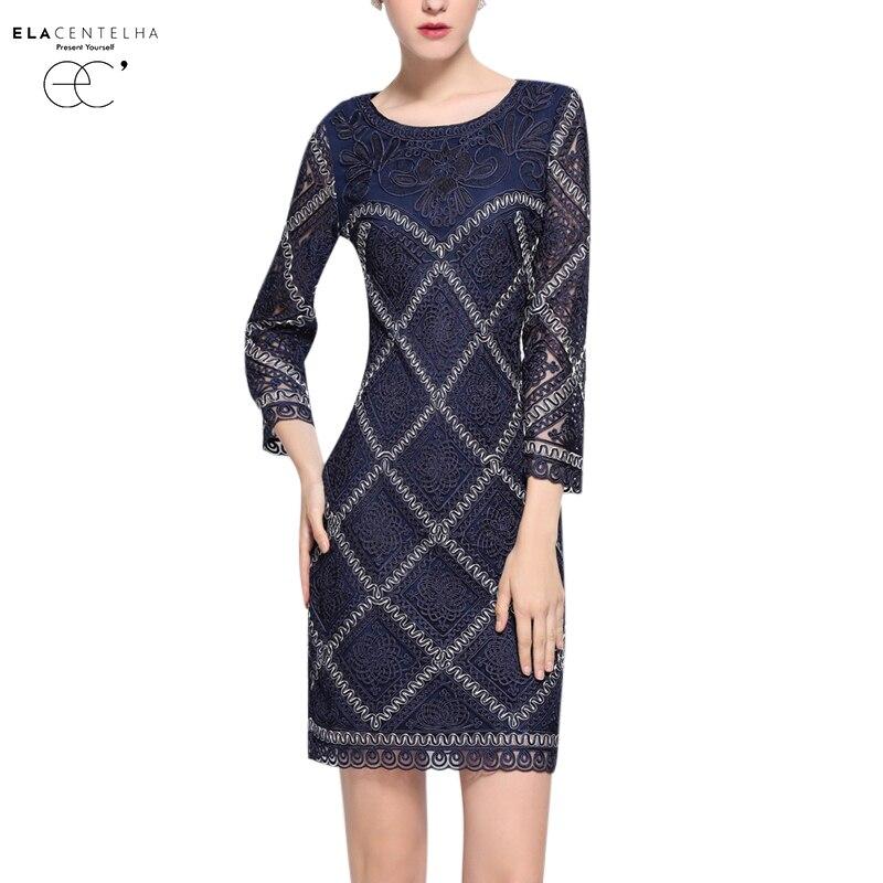 ElaCentelha Women Dress Ladies O Neck Lace Embroidery Bodycon OL Dresses Autumn Spring Ladies Plaid Work