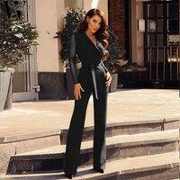 WYHHCJ Black Jumpsuit Women V Neck Skinny Polka Dot Maxi Party Jumpsuit 2018 Office Work Wear Elegant Patchwork Casual Jumpsuit