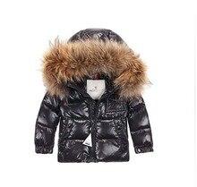 2016children's одежда пуховик ребенок ребенок мужской женский ребенок мальчик черный короткие дизайн большой меховой воротник
