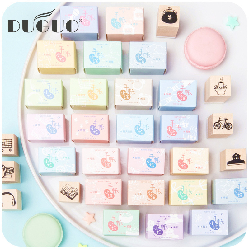DUGUO Cute Stationery Cartoon Hand Account Seal Set Small Fairy Wooden Hand Book Seal Mud Candy Color Ink Pad