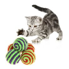 5Pcs Squeaky Ball Sound Candy Color Spiral Kitten Cat Dog Puppy Pet Toys Balls Crinkle Woolen Glitter Attract Interactive