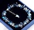 Новый чистый ручной Роскошные сердце ocean blue стерлингового серебра 925 Австрия crystal design браслеты и браслет