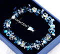 Brand new pure handmade Luxury heart of ocean blue 925 sterling silver Austria crystal design bracelets & bangle