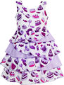 Girls Dress Cake Candy Birthday Gift Layered Tulle Purple 2016 Summer Princess Wedding Party Dresses Kids Clothes Size 4-10